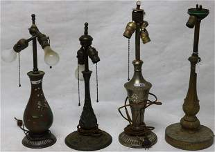 4 HEAVY QUALITY LAMP BASES TO INCLUDE ORIENTAL