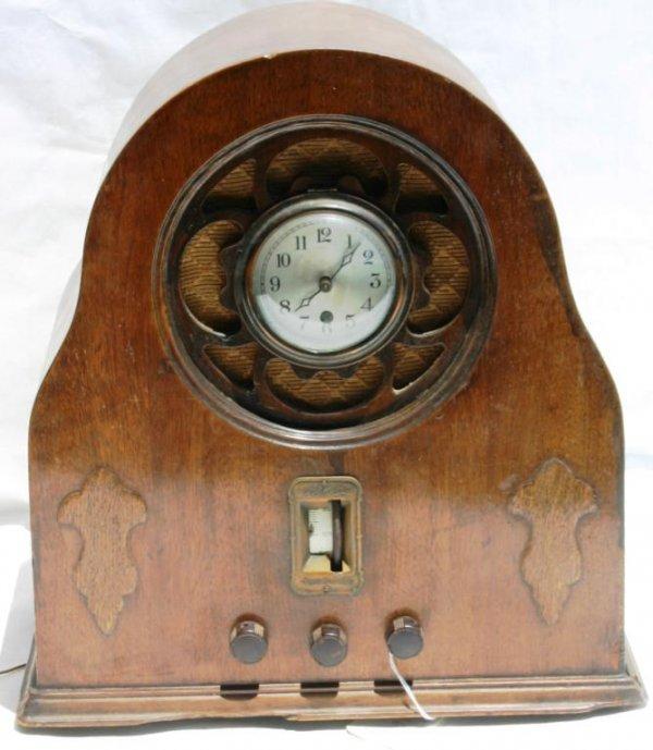 7: SKY RAIDER CLOCK/RADIO WOOD CASE, TOMBSTONE