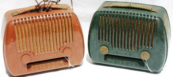 21: TWO 1948 SENTINEL PORTABLE RADIOS MODELS 316PM, ONE