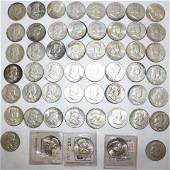 COLLECTION OF 45 FRANKLIN SILVER HALF DOLLARS,