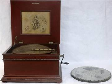 REGINA MAHOGANY MUSIC BOX SINGLE CONE, WORKING
