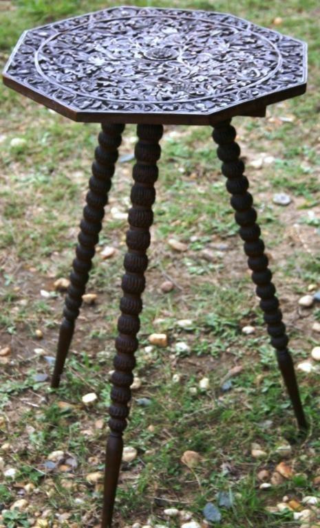 1: ORNATELY CARVED FAR EAST OCTAGONAL TABLE