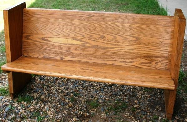 3: SOLID OAK PEW, IN REFINISHED CONDITION