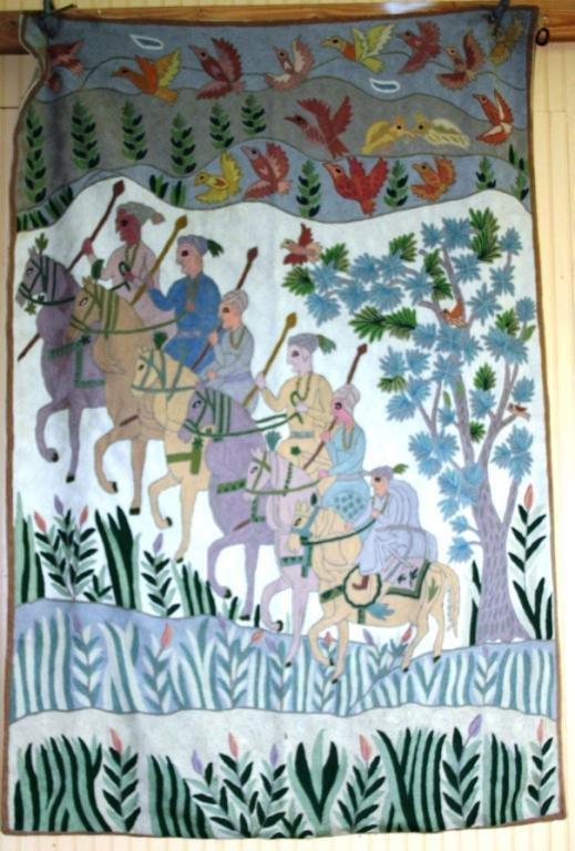 15: NEEDLEWORK OF SIX MEN ON HORSEBACK