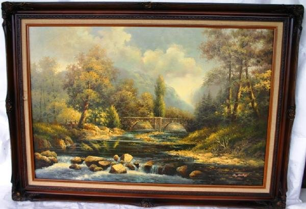 16: OIL ON CANVAS, COUNTRY RIVER SCENE
