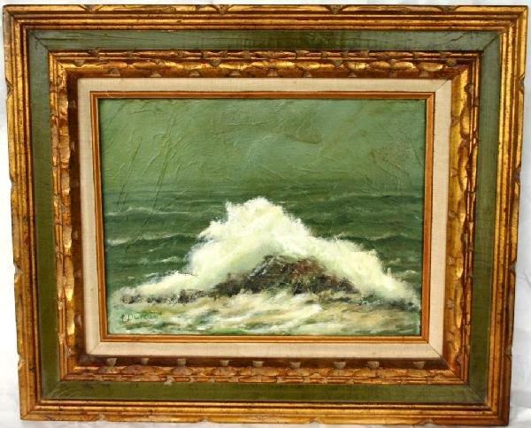 17: OIL ON CANVAS, SEASCAPE SIGNED L. DUNCAN