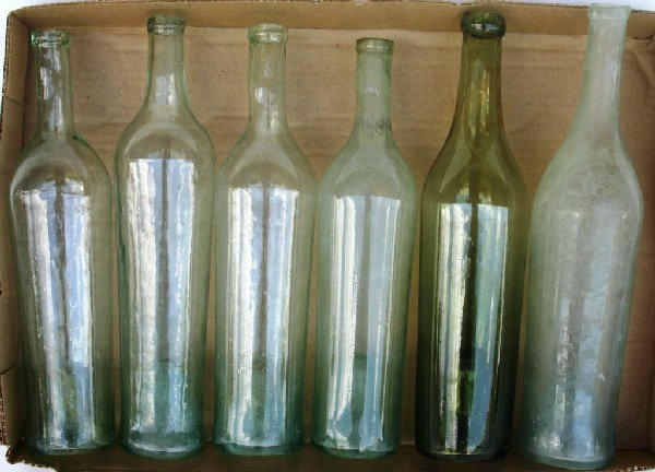 19: 6 EARLY TALL BLOWN BOTTLES WITH KICK UP BOTTOMS