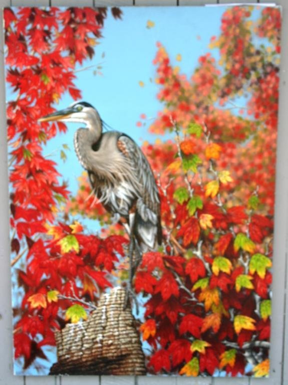 289: OIL ON CANVAS OF HERON ON STUMP WITH LEAVES