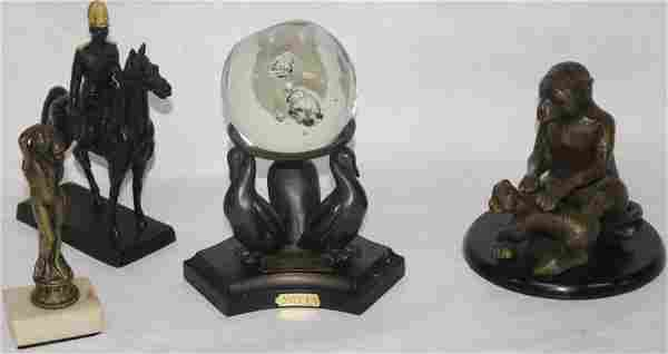 LOT OF 4 BRONZE ITEMS TO INCLUDE MONKEY WITH