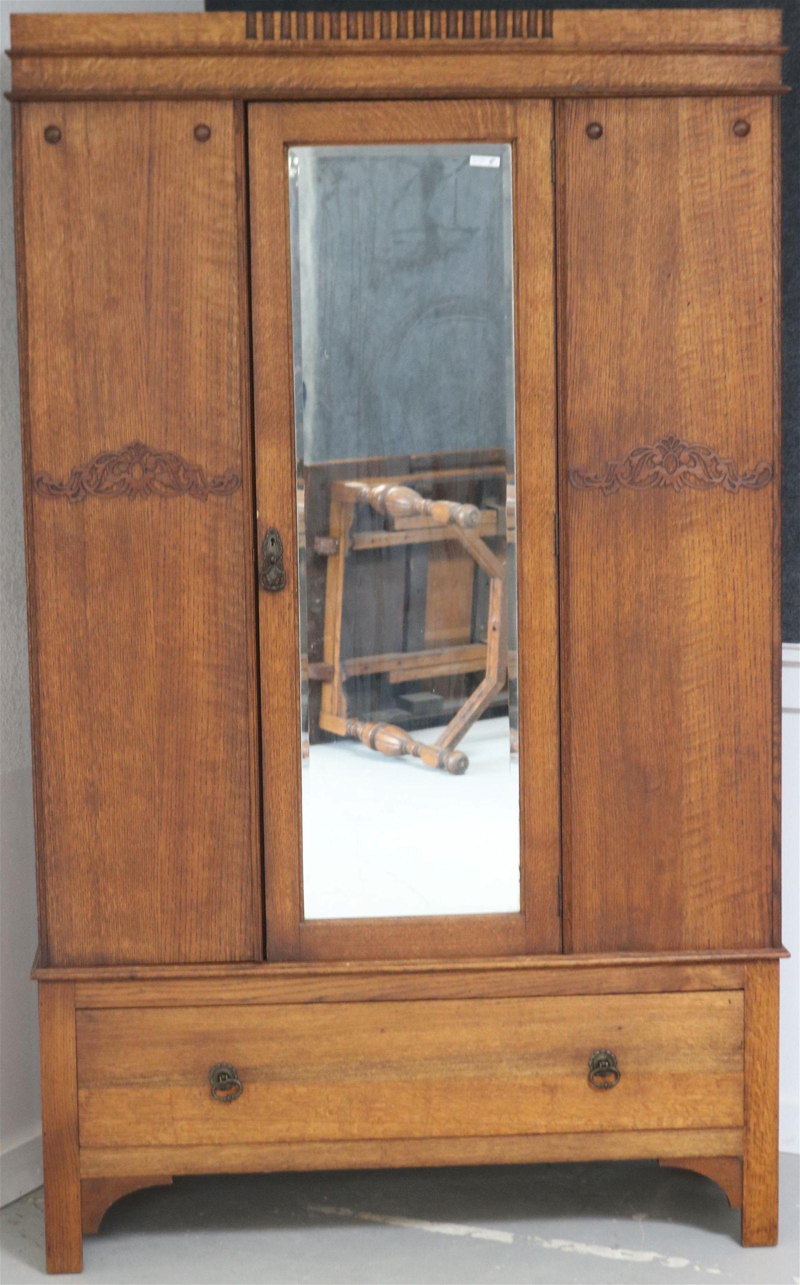 ENGLISH OAK 1 DOOR ARMOIRE BEVELED GLASS DOOR, 1