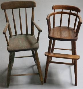 """TWO 19TH C. YOUTH CHAIRS, 1 PINE, 1 OAK, 30"""" -"""