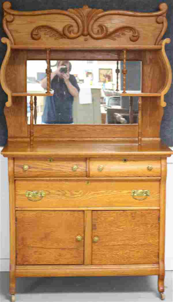 REFINISHED OAK SIDEBOARD WITH FANCY TOP, MIRRORED