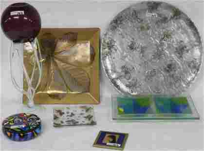 LOT MID CENTURY GLASS & OTHER ITEMS, (7) FUSED