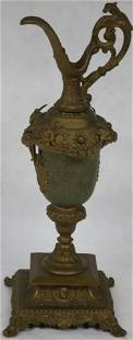 19TH C. BRASS EWER WITH GOAT HEAD & FACE
