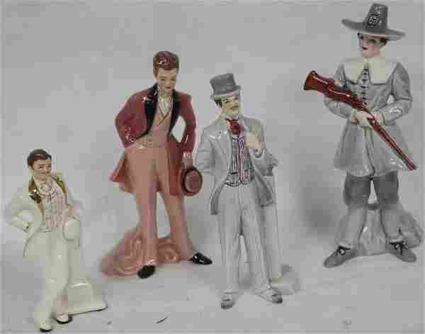 LOT OF 4 MALE FLORENCE FIGURINES TO INCLUDE JOHN