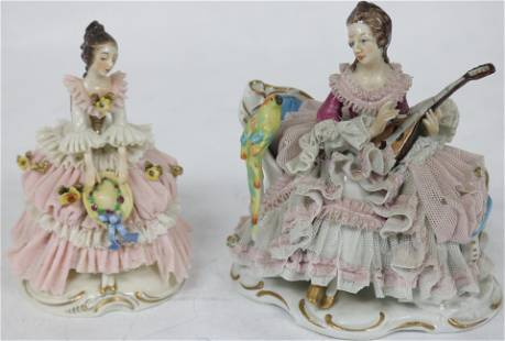 2 DRESDEN PORCELAIN FIGURINE WITH LATE WORK