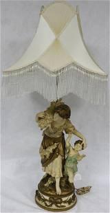 TALL PAINTED FIGURAL METAL LAMP, PEASANT GIRL