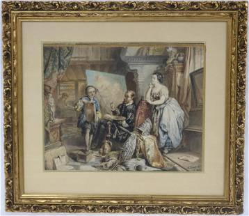 19TH C. WATERCOLOR ON PAPER, DEPICTING ARTIST &