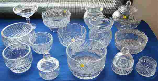 14 PCS. RUSSIAN & OTHER LEAD CRYSTAL BOWLS, VASES,