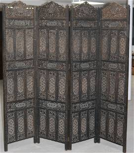 """INDIAN CARVED 4 FOLD SCREEN, 74 3/4"""" H, 80"""" L"""