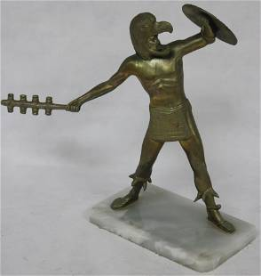 EARLY 20TH C. METAL & ONYX FIGURE, DEPICTING