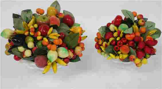 2 COLORFUL FRUIT ARRANGEMENTS IN MILK GLASS