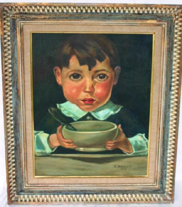 1A: OIL ON BOARD, BOY WITH BOWL, 1973, 20 X 16