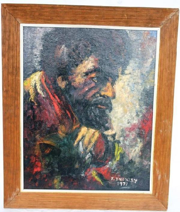 1D: OIL ON BOARD, PORTRAIT OF MAN, 1971, 20 X 16