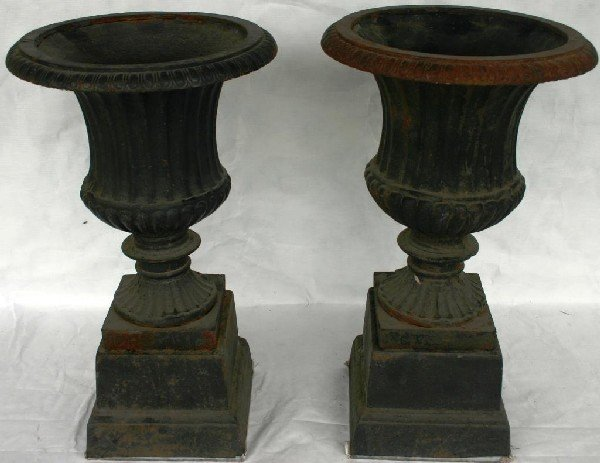 "3: SMALL PAIR 20TH C. CAST IRON URNS, 20"" H"