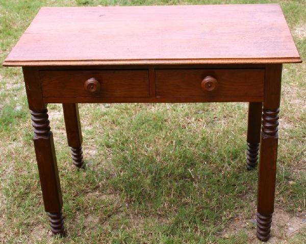 5: 19TH C. WALNUT 2 DRAWER WORK TABLE