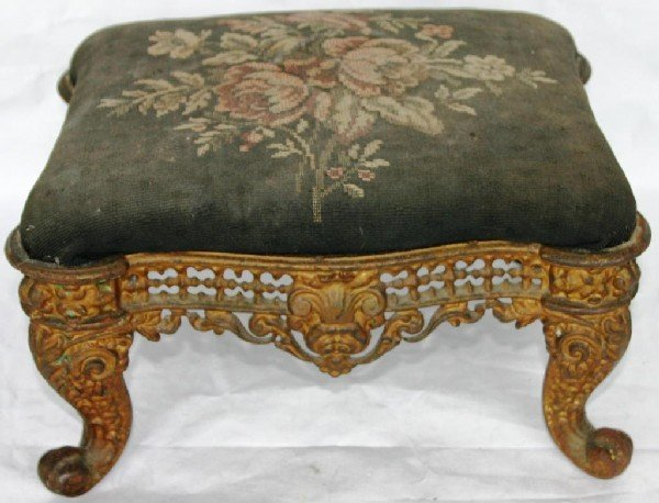 6: FANCY VICTORIAN CAST IRON FOOT STOOL