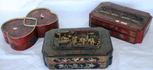 1: COLLECTION OF 3 CARVED & GILT