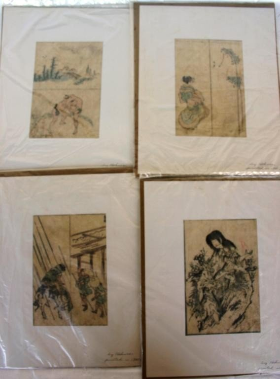 4: 4 JAPANESE PRINTS BY HOKUSAI, ROUGHLY 7 X 5