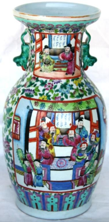 9: EARLY 20TH C. ORIENTAL HANDLED VASE WITH