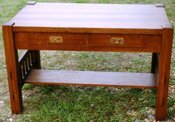 10: REFINISHED MISSION OAK 1 DRAWER LIBRARY TABLE