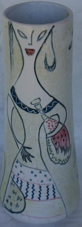 19: FRENCH POTTERY VASE, WOMAN WITH BOTTLE