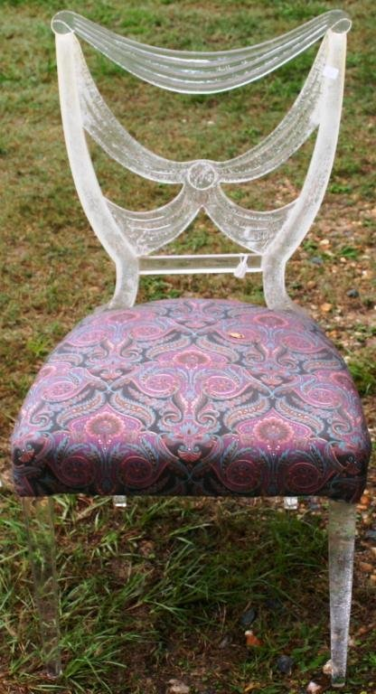 23: ACRYLIC SIDE CHAIR, SHOWS CRAZING