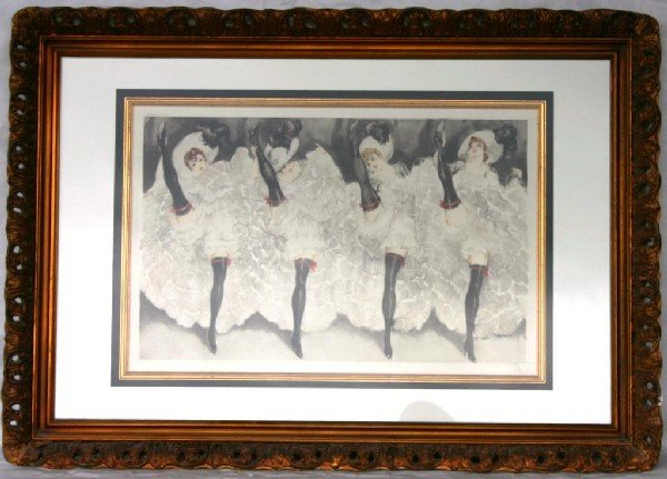 """59: FRAMED & GLAZED ICART ETCHING, """"CAN-CAN"""""""