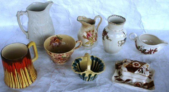 1: LOT OF 8 ENGLISH POTTERY & PORCELAIN ITEMS