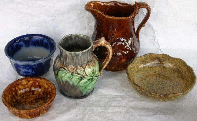 7: LOT OF 5 EARLY POTTERY ITEMS TO INCLUDE,