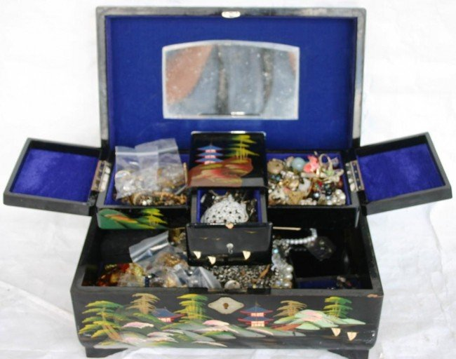 14: LACQUER JEWELRY BOX FULL OF COSTUME JEWELRY