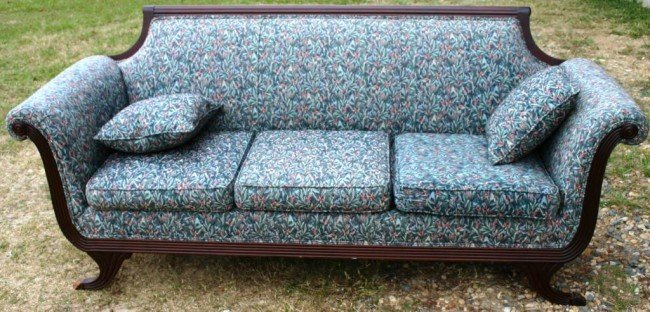 15: DUNCAN PHYFE STYLE SOFA WITH NEW