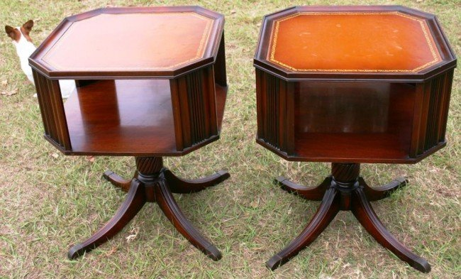 17: PAIR OF CUSTOM LEATHER TOP END TABLES