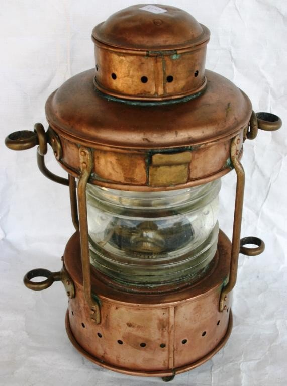 21: COPPER SHIP'S LANTERN WITH CLEAR LENS