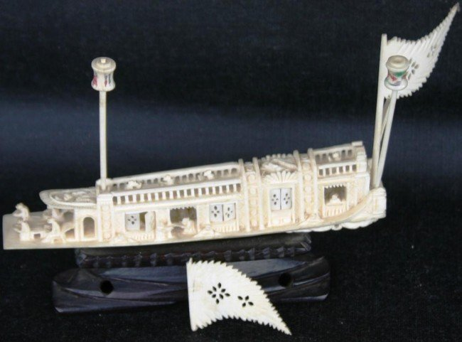 78: ORNATELY CARVED IVORY CHINESE JUNK