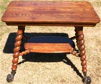195: LARGE REFINISHED OAK PARLOR TABLE WITH