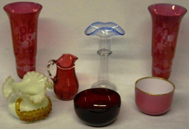 1: 6 PCS. OF 19TH & 20TH C. COLORFUL GLASSWARE