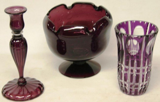6: 3 PCS. OF AMETHYST GLASS TO INCLUDE OVERLAY VASE,