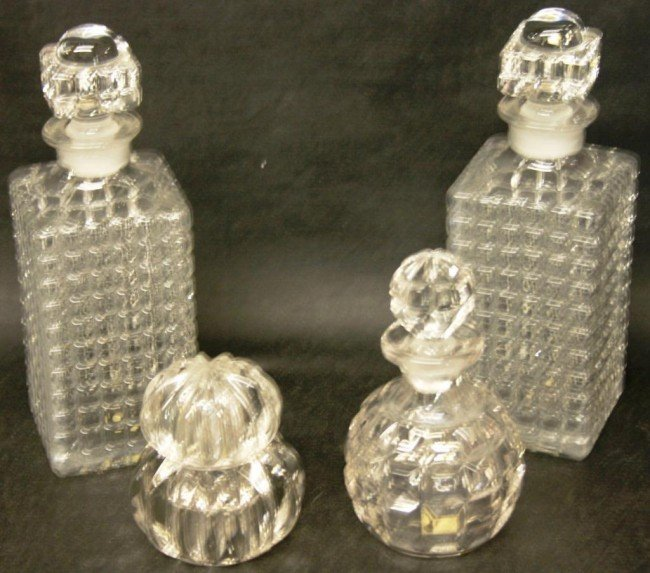 7: 4 STOPPERED BOTTLES TO INCLUDE PAIR OF DECANTERS,