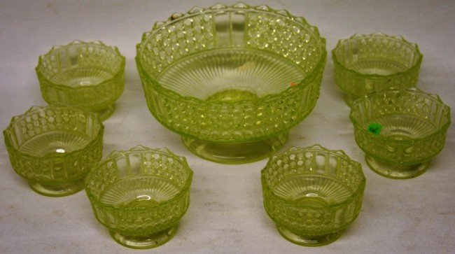 8: 7 PC. VASELINE GLASS BERRY SET, FOOTED BASES,